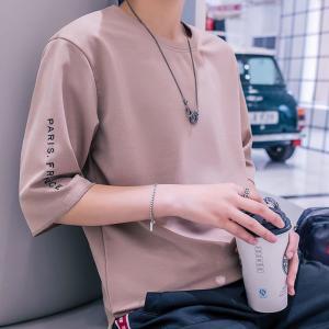 Tシャツ メンズ 半袖 トップス 無地 カットソー Tシャツ 五分丈 カジュアル おしゃれ シンプル...