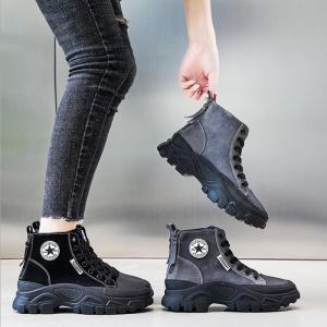 ショートブーツ レディース ローヒール 厚底 シューズ 靴 無地 カジュアルシューズ 美脚 歩きやす...