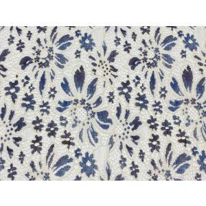 デジタルプリントレース デニム模様  花柄 日本製 100cm巾 25cm単位ごとの販売 |lace