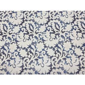 デジタルプリントレース デニム模様  幾何調リーフ柄 日本製 100cm巾 25cm単位ごとの販売 |lace