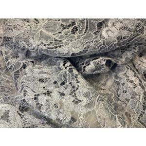 レース 生地 15cm巾×6本つながり【花柄】 50cm単位販売 カラー:ブルーグレー・オフ・黒・オフ(グレー) No.83-12|lace