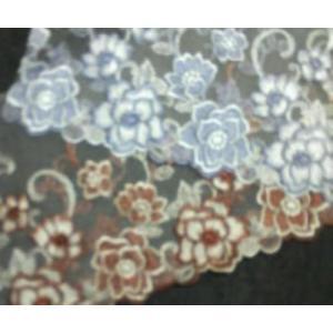 チュールレース(10cm巾・グレー/ブラウン) laceya