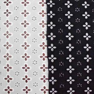 綿ローン四葉柄刺繍カットワークレース生地(3色)コットン  リバティ マリメッコ ソレイアードとも相性良|laceya