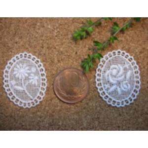綿刺繍花柄モチーフ(デイジー/バラ) laceya