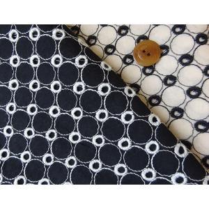 カットワークレース生地(5色) 綿生地におしゃれなサークル柄刺繍 ハワイアン布、和柄とも相性良|laceya