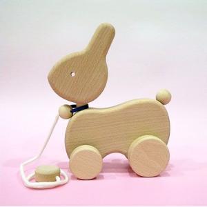 木のおもちゃ ひっぱりコロコロうさぎ|lachance