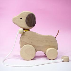 木のおもちゃ ひっぱりコロコロいぬ(犬)|lachance