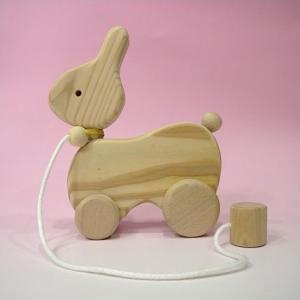 木のおもちゃ ひっぱりコロコロ(うさぎ)スギ|lachance