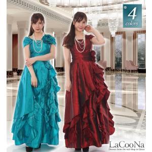 素材プラスのスカートがボディーメイクしたAラインの姫ロングドレス|lacoona