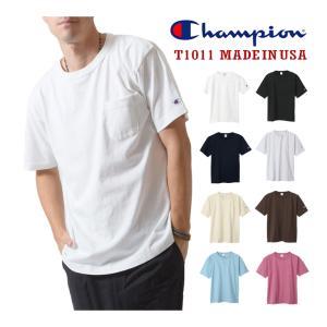 Champion チャンピオン メンズ 半袖 ポケット付Tシャツ T1011 US  厚手生地 Tシ...