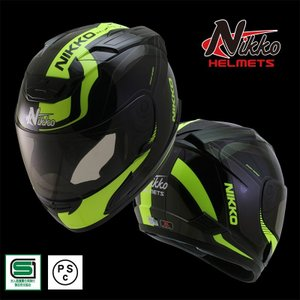 バイク NIKKO HELMET N-805 BLACK YELLOW フルフェイス ヘルメット 蛍...