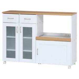 キッチンカウンター サージュ WH×NA 120幅 ナチュラル/ホワイト 96820の写真