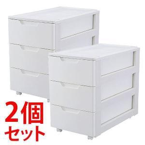 【2個セット】らくらく引き出しチェスト 3段 HGL-443 キャスター付き 押入れ収納  衣装ケース 衣類収納 収納ボックス リビング 衣替え 新生活 アイリスオーヤマ|ladybird6353