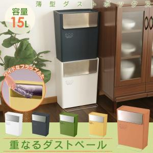 【2個セット】ゴミ箱 おしゃれ スリム ふた付き ダストボックス 分別 日本製 重なるダストペール RSD-104 2個セット 東谷|ladybird6353