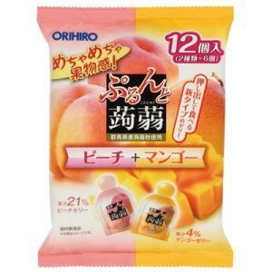 オリヒロ ぷるんと蒟蒻ゼリー パウチ ピーチ+マンゴー (20g×12個入)※取り寄せ商品(注文確定後6-20日頂きます) 返品不可