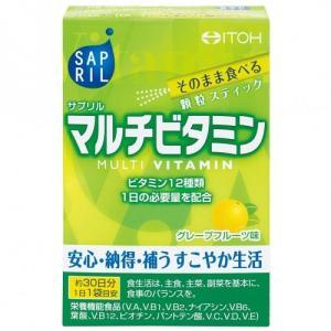 ビタミン12種類を1日の必要量配合した、そのまま食べる顆粒スティックタイプのマルチビタミンです。グレ...