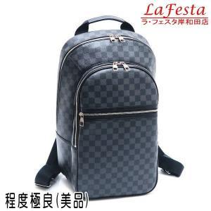 ルイヴィトン リュック ダミエ・グラフィット ミカエル 保存袋付き N58024 中古(程度極良【美品】)|lafesta-k