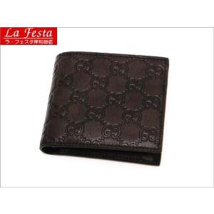 グッチ 2つ折り財布 レザー ダークブラウン 146223 新品|lafesta-k