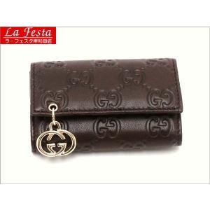 グッチ 6連キーケース カーフ GGゴールドチャーム付き 212111 新品|lafesta-k