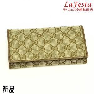 グッチ 長財布 GGキャンバス ライトブラウン×ブラウン 346058  箱 紙袋付き 新品|lafesta-k
