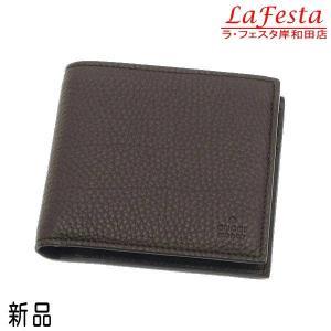 グッチ 2つ折り財布  レザー ダークブラウン 296673 新品|lafesta-k