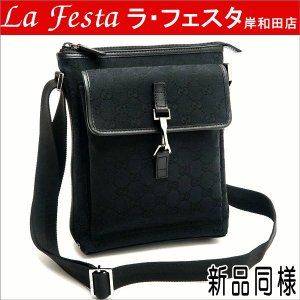 グッチ ショルダーバッグ GGキャンバス×レザー ブラック 92646 中古(新品同様)|lafesta-k