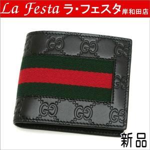 グッチ 2つ折り財布(札・カード入れ) レザー ブラック ウェブライン 408827 新品|lafesta-k