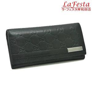 グッチ 2つ折り長財布 レザー グッチシマ ブラック 233112 中古|lafesta-k