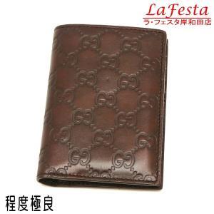 グッチ 2つ折り財布(札・カード入れ) レザー グッチシマ ダークブラウン 箱付き 146227 中古(程度極良)|lafesta-k