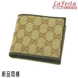 グッチ 2つ折り財布 GGキャンバス ライトブラウン×ダークブラウン 箱付き 04862R 中古(新品同様)|lafesta-k