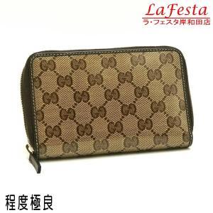 グッチ ラウンドファスナー財布 GGクリスタル×レザー ベージュ×ダークブラウン 420113 中古(程度極良)|lafesta-k