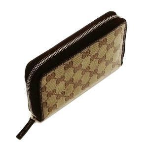 グッチ ラウンドファスナー財布 GGクリスタル×レザー ベージュ×ダークブラウン 420113 中古(程度極良)|lafesta-k|03