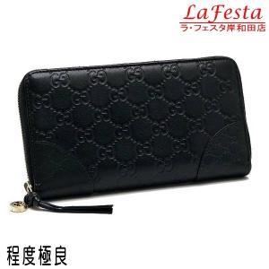 グッチ 長財布 レザー グッチシマ×マイクログッチシマ ブラック 323397 中古(程度極良)|lafesta-k