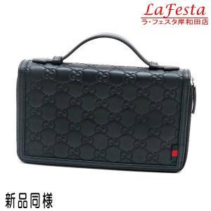 グッチ トラベルケース 長財布 ハンドバッグ レザー ブラック 336298 中古(新品同様)|lafesta-k