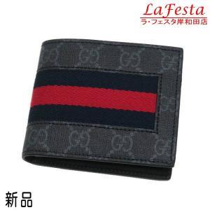 グッチ 2つ折り財布(札・カード入れ)  GGスプリームキャンバス レザー ブラック×グレー ウェブライン 箱付き 408827 新品|lafesta-k
