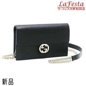 グッチ チェーンウォレット 長財布 ショルダーバッグ レザー ブラック 黒 保存袋付き 510314 新品|lafesta-k