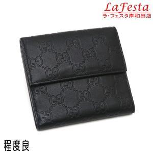 グッチ Wホック財布 グッチシマ レザー ブラック 251725 中古(程度良) lafesta-k