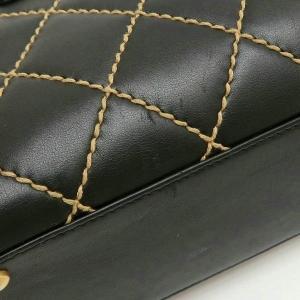 シャネル ハンドバッグ ワイルドステッチ ラムスキン マトラッセ ブラック 箱付き 中古(程度良)|lafesta-k|08