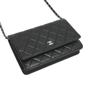 シャネル チェーンウォレット 長財布兼用バッグ マトラッセ キャビアスキン ブラック 箱 紙袋付き A33814 中古(程度極良)|lafesta-k|04