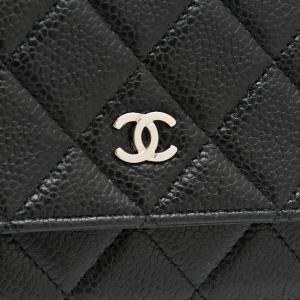 シャネル チェーンウォレット 長財布兼用バッグ マトラッセ キャビアスキン ブラック 箱 紙袋付き A33814 中古(程度極良)|lafesta-k|05