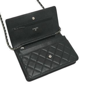 シャネル チェーンウォレット 長財布兼用バッグ マトラッセ キャビアスキン ブラック 箱 紙袋付き A33814 中古(程度極良)|lafesta-k|08