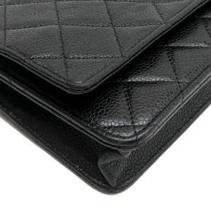 シャネル チェーンウォレット 長財布兼用バッグ マトラッセ キャビアスキン ブラック 箱 紙袋付き A33814 中古(程度極良)|lafesta-k|09