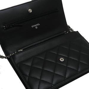 シャネル チェーンウォレット 長財布兼用バッグ マトラッセ ラムスキン ブラック 箱付き A33814 中古(新品同様)|lafesta-k|06
