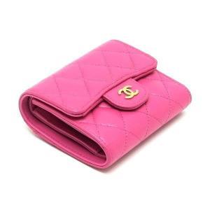 シャネル 3つ折り財布 スモール フラップ ウォレット キャビアスキン マトラッセ ピンク 箱付き AP0229 中古(新品同様) lafesta-k 03