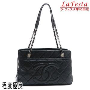シャネル ショルダーバッグ キャビアスキン ブラック シルバー金具 保存袋付き A67294 中古(程度極良)|lafesta-k