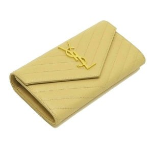 サンローラン 長財布 フラップウォレット 型押レザー ベージュ 箱付き 372264  中古(程度極良【美品】)|lafesta-k|04