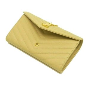 サンローラン 長財布 フラップウォレット 型押レザー ベージュ 箱付き 372264  中古(程度極良【美品】)|lafesta-k|05