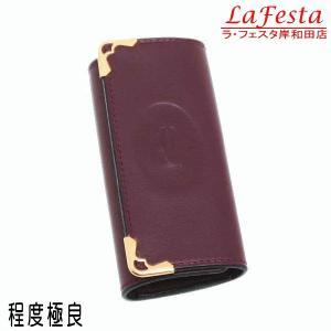 カルティエ 4連キーケース マストライン レザー ボルドー Gカード 箱付き L3000453 中古(程度極良)|lafesta-k