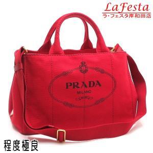 プラダ 2Wayバッグ CANAPA カナパ トートバッグ ストラップ付き キャンバス レッド系 赤 Gカード 保存袋付き BN2642 中古(程度極良) lafesta-k