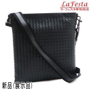 ボッテガ・ヴェネタ ショルダーバッグ イントレチャート メッセンジャーバッグ レザー ブラック 保存袋付き 276356 新品(展示品)|lafesta-k